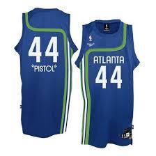 Blue - Authentic Light Pistol Atlanta Jersey Pete Hawks Maravich Adidas