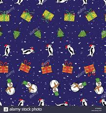 Cute Winter Pattern Background With Snowmen Santa Penguins