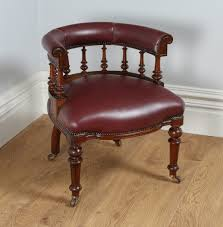victorian office furniture. Antique Victorian Oak Burgundy Red Leather Captains Office Desk Armchair Chair Circa 1870 Furniture
