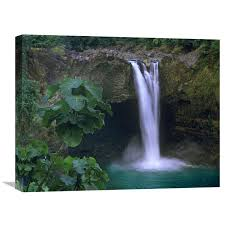 global gallery rainbow falls cascading into pool big island hawaii by tim fitzharris 18 x 24 inch wall art