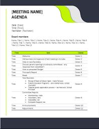 Classic Meeting Agenda