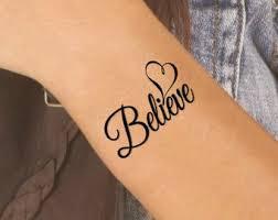 Believe Tattoo Etsy