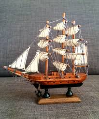 wooden sailboat model vintage 3 mast handmade wonderful nautical treasure