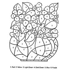 coloring pages for kids flowers. Fine Pages The Color By Number Coloring Pages For Kids Flowers Y
