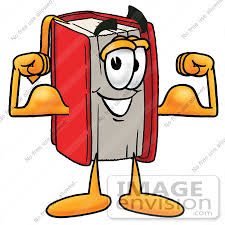 22558 clip art graphic of a book cartoon character flexing his arm muscles by toons4biz