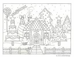 Small Picture Gingerbread House Winter Scene Coloring Page PDF Instant