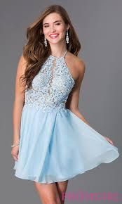 Light Blue Semi Dress Image Of Short Light Blue A Line Lacy Illusion Bodice Open