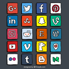 social media logos. color hand drawn social media logo collection free vector logos