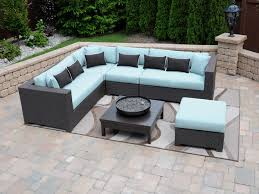 patio outdoor sectional patio furniture sectional patio furniture clearance pale blue cushioned modern black resin