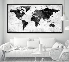 World Map Poster Push Pin Travel Map Black And White World Map Home Gift Office Decor Living Room Wall Decor Large Adventure Map L56