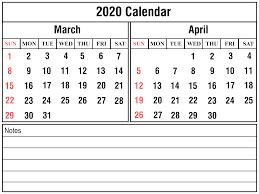 Free Printable April Calendar 2020 March April 2020 Printable Calendar Templates Free