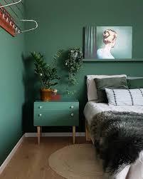 Grünes Schlafzimmer Mit Grünen Wänden Und Grünen Möbeln Wohnen