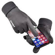 Male Winter Faux Suede Gloves Plus Velvet Warm Full Finger Glove ...