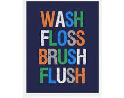 bathroom boy sign. bathroom wall art, wash, floss, brush, flush, decor, boy sign
