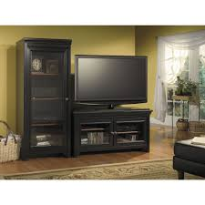 black stained wooden entertainment center with shelf and audio rack with glass door as