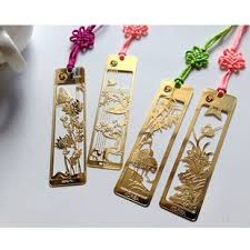 traditional chinese metal bookmark 24k gold plated four gentlemen plum orchid bamboo and
