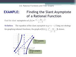 example finding the slant asymptote of a rational function find the slant asymptotes of f