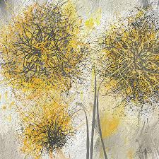 brighter blooms  yellow and gray modern artwork painting by