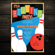Bowling Party Invitations Retro Kids Bowling Party Printable Invitation Birthday Party