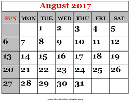 july august october 2017 calendar