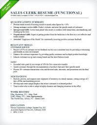 Sample Career Summary For Resume Sales Clerk Functional Resume