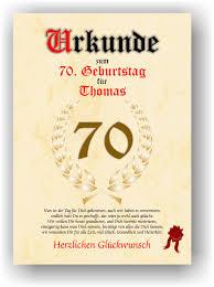 Urkunde Zum 70 Geburtstag Geschenkidee Geburtstagsurkunde
