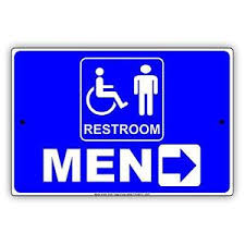 Details About Restroom Men Disabled With Right Arrow Guide Novelty Notice Aluminum Metal Sign