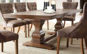 image of solid wood dining table and 8 chairs