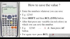 how to save value in calculator in fx 991es plus the calculator king