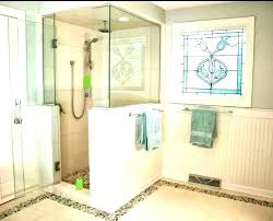 half wall shower no glass with charming design idea height tiled walk in showers kits w half wall glass shower