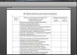 Заполнение дневника по практике Образец