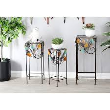 litton lane multi colored iron and glass stems and leaves square plant stands set