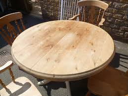 super rustic country solid pine round extending dining table and 4 chairs