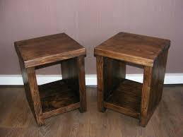 side tables solid pine bedside tables pair rustic solid wood chunky pine bedside lamp end