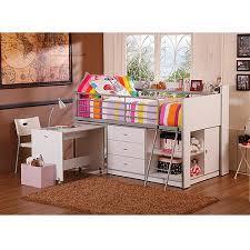 Savannah Storage Loft Bed with Desk White Walmart