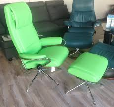 stressless paris paloma summer green 09491 leather recliner chair and ottoman