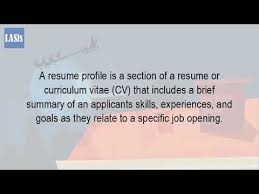 What Do You Put In The Profile Section Of A Resume Youtube