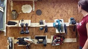 diy power tool storage system using a french cleat system