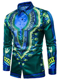 Tribal Print Color Block Long Sleeve Shirt Green L In Shirts