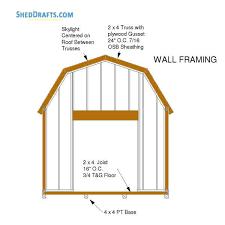 12x20 gambrel barn shed building plans blueprints 08 front wall framing