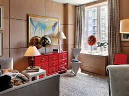 office paneling. Home Office With Red Dresser And Oak Paneling