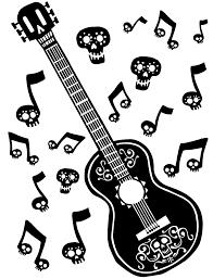 Coco Guitar Coloring Page Disney Coco Printables Guitar Disney