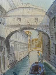bridge of sighs venice antique watercolours p vale italian 19th century