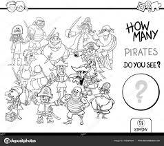 Piraten Kleurplaat Pagina Activiteit Tellen Stockvector