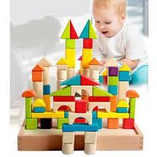 classic wooden children educational toy shapes colors building blocks