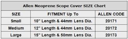 Allen Neoprene Scope Cover Sizing Chart