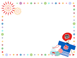 フリーイラスト 打ち上げ花火と夏祭りの囲みフレームでアハ体験 Gahag