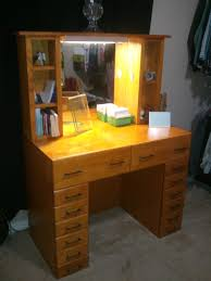 classic glamour home office design small vintage natural color oak wood dressing vanity with small square agreeable double office desk luxury inspirational