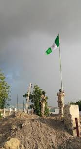 Image result for Soldiers take over Gamboru, hoist Nigeria's flag