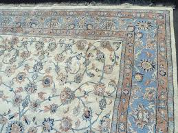 lot 79 wool hand tied oriental rug indo kashan 8 x 10 in blue grey mauve and black good condition
